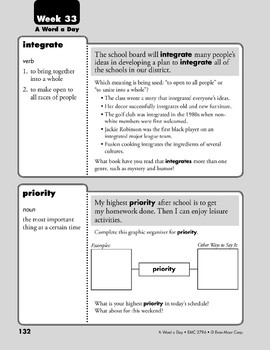 Week 33: integrate, priority, customary, lobby (A Word a Day)