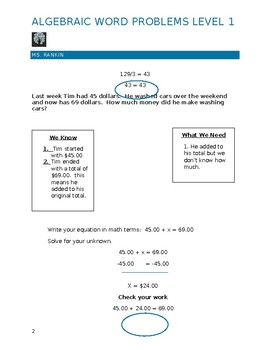 Week 4 Algebra Word Problems Level 1