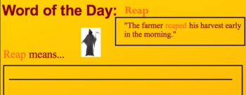 "Week 4 Speech Warm Up...Word: Reap, Idiom: ""A"" for Effort"