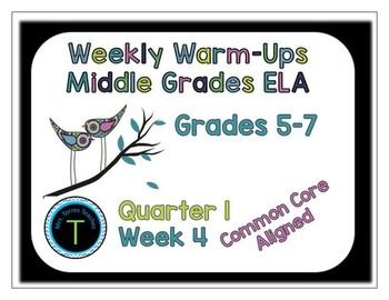 Week 4 of 6th Grade ELA Warm Up- Language Arts Bell work