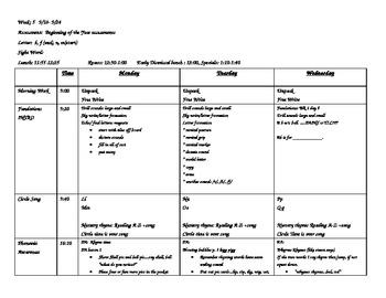 Week 5 Kindergarten Lesson Plans