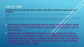 Week #5 Kindergarten Lesson Plans:  Reading/Vocabulary Development