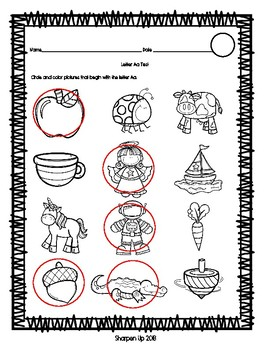 Week 5 Reading Wonders Letter Aa Test with Answer Key