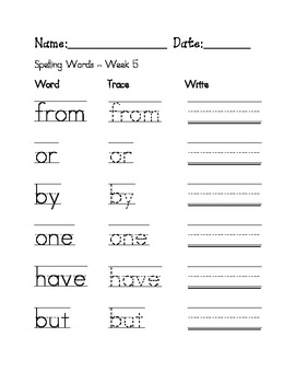 Week 5 Sight Words / Spelling Words Worksheet