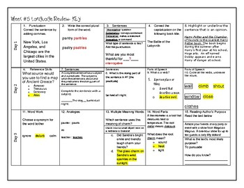 Week 5 of 6th Grade ELA Warm Up- Language Arts Bell work