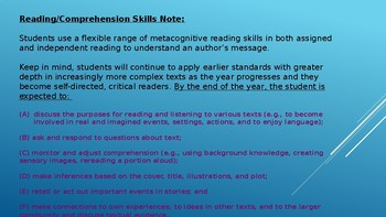 Week# 6 Lesson Plans:  Comprehension of Literary Text/Theme and Genre
