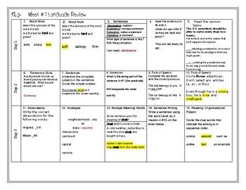 Week 7 of Middle School ELA Warm Up- Language Arts Bell work grade 6
