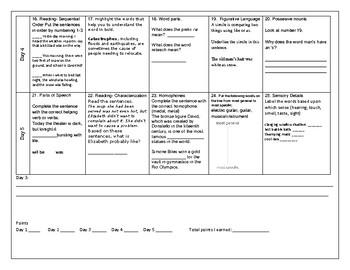 Week 6 of Middle School or Grade 6 ELA Warm Up- Language Arts Bell work