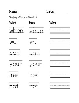Week 7 Sight Words / Spelling Words Worksheet