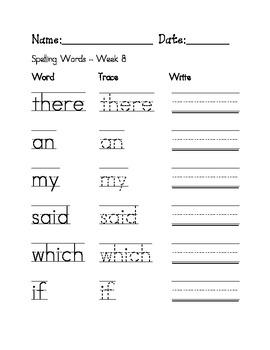 Week 8 Sight Words / Spelling Words Worksheet