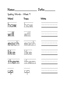 Week 9 Sight Words / Spelling Words Worksheet