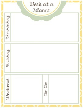 Week At A Glance (2 pages) (yellow/teal)