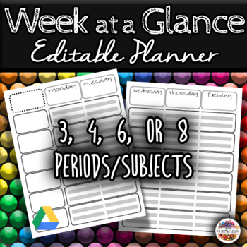 Week At A Glance 6-Class Lesson Planner (PowerPoint version)