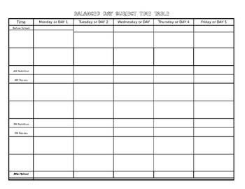 Week-At-A-Glance Balanced Day Template ~ Word Document