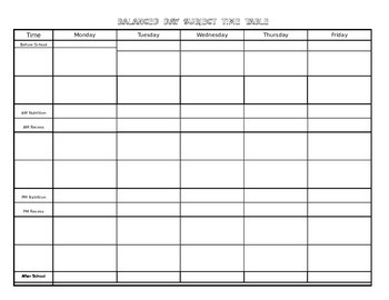 Week at a glance monday to friday template word document for Week at a glance lesson plan template