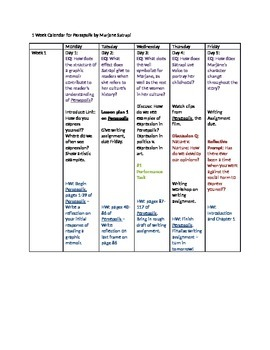 Week Calendar and Activities for Persepolis by Marjane Satrapi