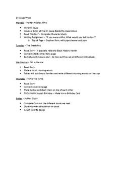Week Long Dr. Seuss Author Study