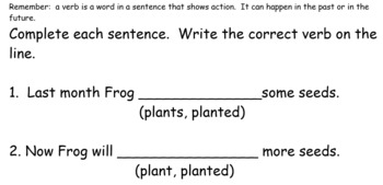 Week Long Lesson- Verbs For Past and Future Smartboard Activity.