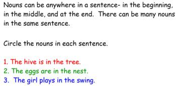 Week Long Nouns in Sentences Smartboard Activity