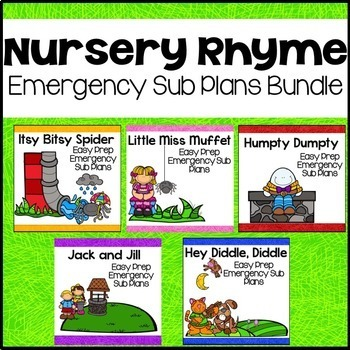 Nursery Rhyme Themed Sub Plans Bundle (Week Long Kindergarten Sub Plans)