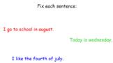 Week Long Proper Noun (Days, Months, Holidays) Smartboard