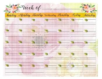 Week Of _______ Pretty Calendar