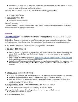 Week One Lesson Plan - 6th grade Social Studies - World History
