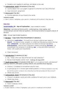 Week One Lesson Plans Social Studies - 5th grade - U.S. History