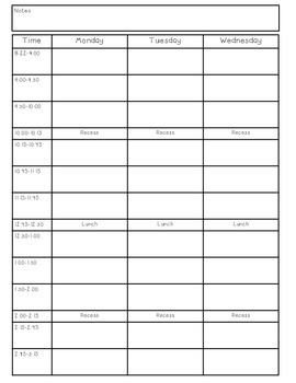 Week Plan (non editable version)