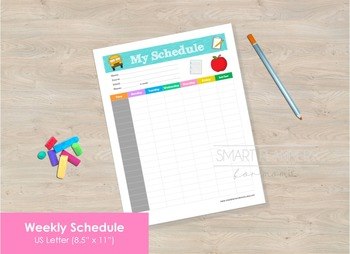 Week Schedule, School planner insert, Printable. US Letter Size.