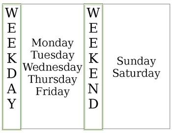 Week/Weekend Anchor Chart