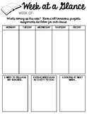 Week at Glance Organizer for Students