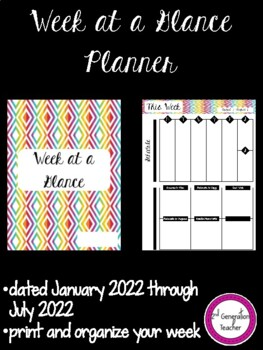 Week at a Glance *Update for 2016-2017 School Year*