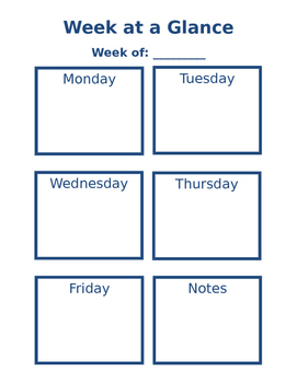 Week at a Glance - Editable