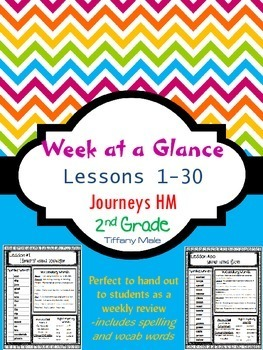 Week at a Glance Journeys HM 2nd Grade