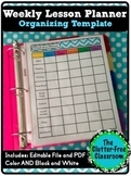 Week at a Glance Lesson Planning Organizer {Pacing,Template, Editable}