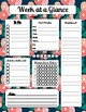 Week at a Glance Planner with Grocery and Menu Plan in Spring Colors- PDF