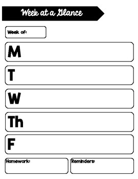 week at a glance template by surviving 3rd teachers pay teachers