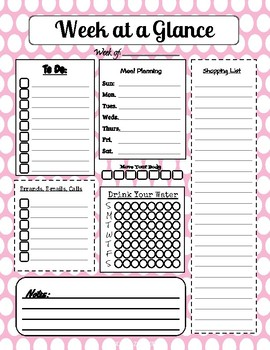 Week at a Glance Planner Printable with Grocery and Menu Planning in pinks - PDF