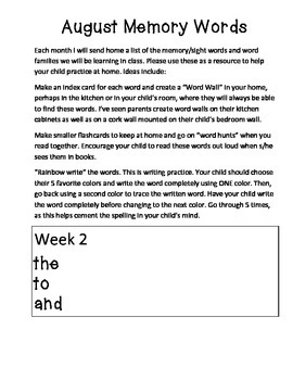 Week by Week Sight Word List for Kindergarten