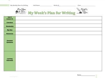 Week by Week Writing Planner - Template