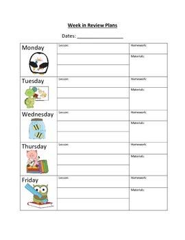 Week in Review Plans
