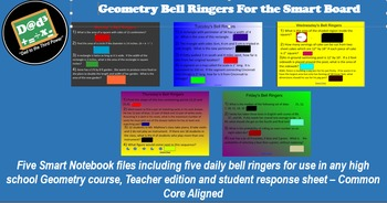 Week long Bell Ringer Smart Board files for Geometry