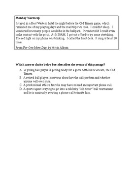 Week of Comprehension/Inference Warm-Ups