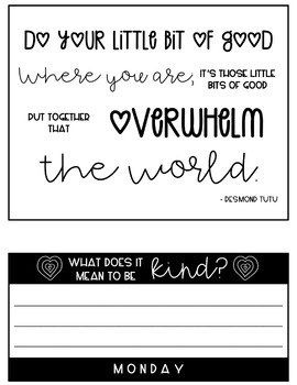 Week of Kindness Flipbook: Daily Activities for Kindness Week