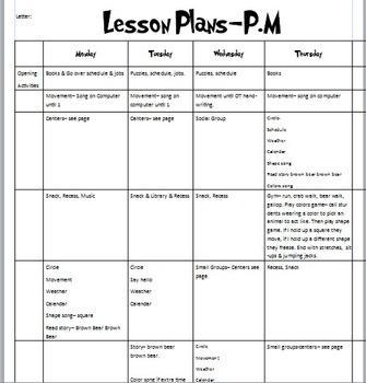 Week of Lesson Plans for Brown Bear, colors & squares.