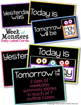 Week of Monsters Daily Label Cards