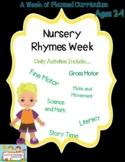 Week of Nursery Rhyme Preschool lesson plans