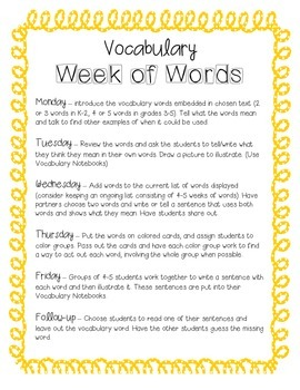 Week of Words - Vocabulary Lessons