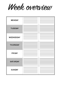Week overview planning printable sheet